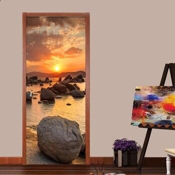 3D Sunset Landscape Poster PVC Waterproof Entire Door Sticker Creative Stickers Door Wall Sticker DIY Mural Bedroom Home Decor