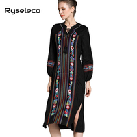 Ryseleco Frauen Vintage Qualität Mirco Suede Lace Up Blumen Stickerei Schlitze High Low Unregelmäßiger Rand Muslimischen Midi Lose Kleider XXL