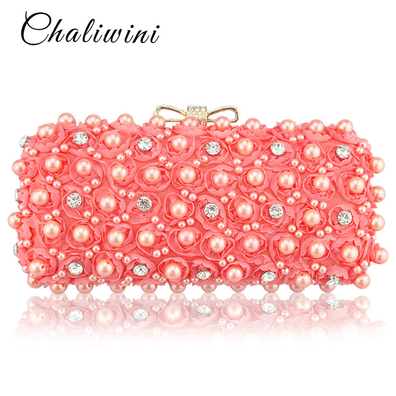 Red Sexy Rose Flower Beaded Crystal Evening Dinner Clutch Bag For Women Nigerian Wedding Shoes And Matching Bag Wallet Hand Bag