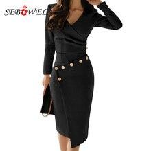 Sebowel 캐주얼 블랙 긴 소매 bodycon 사무 작업 미디 드레스 여성 단추 ruched v 목 파티 가운 asymmetrically 드레스