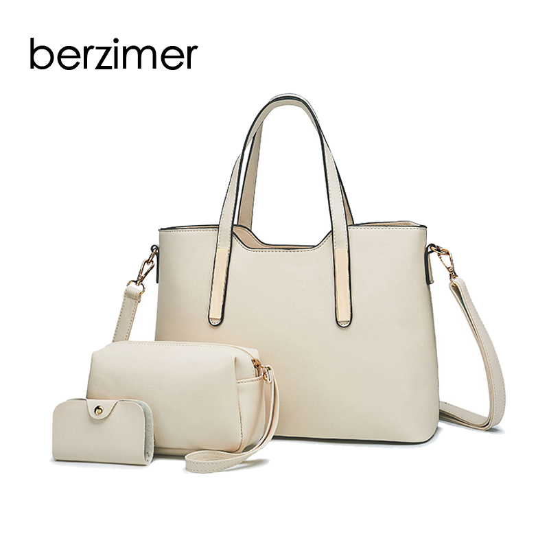 BERZIMER Fashion Women Handbag Bags Black Beige Wine Red Gren Composite Bags Fashion Large Capaticy Tote Bags for Women Ladies цена