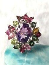 Природный аметист серебряное кольцо, овальные 8 мм * 10 мм deep purple с яркими турмалины, bueatiful и очаровательный, лучший выбор подарка
