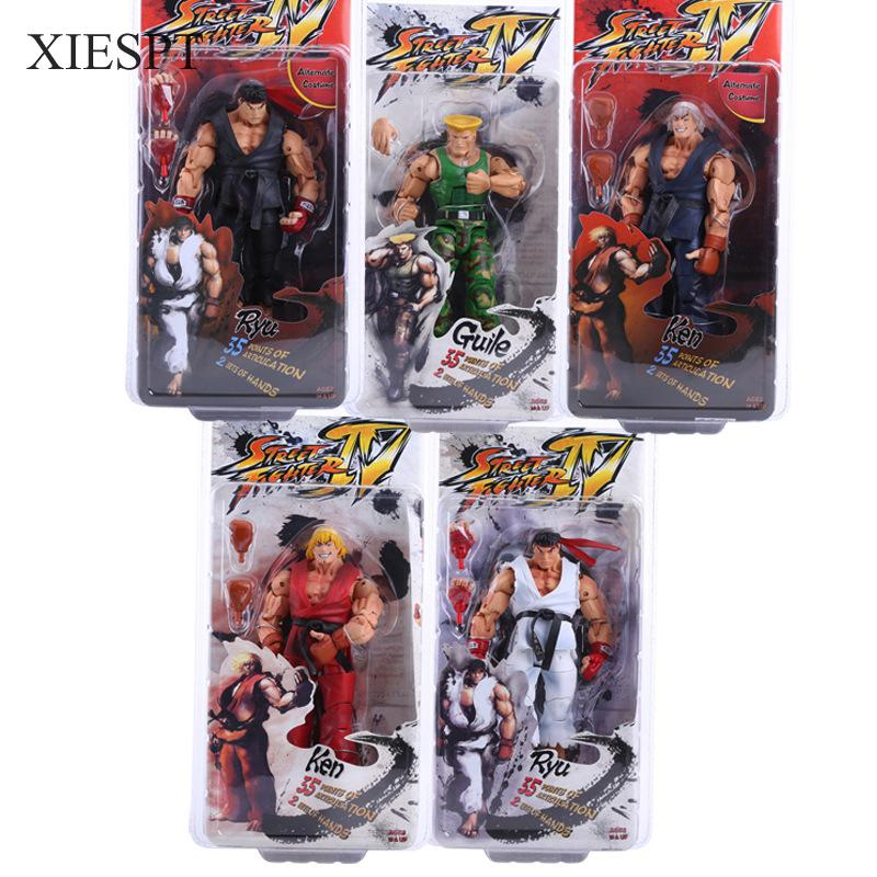 XIESPT Hot Sale Street Fighter PVC Action Figure Toy IV Survival Model Ken Ryu Guile Figurine Doll Free Shipping neca player select 18cm ultra street fighter 4 survival model ken masters ryu guile gouki action figure toy 6 style white black