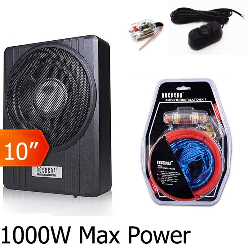 Pico 1000w 10 polegada Debaixo Do Assento Do Carro Subwoofer ativo Magro Woofer Super Bass Amplificador Com controle de Volume Remoto
