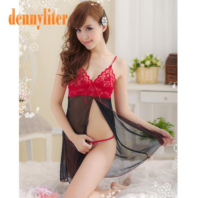 DENNYLITER 2017 New Sexy Lingerie Women Underwear Erotic Lingerie Hot Black Dress Sexy Underwear Sleepwear + G-string