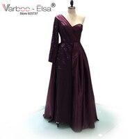 VARBOO_ELSA sheath slit sweetheart Sleeves Long Purple Evening Dress 2017 Beaded Floor Length Women Arabic Style Evening gowns