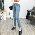 2017 New Fashion Women's European and American Style High Waist Jeans Hole Side Slit Pencil Pants Slim Fit Blue Denim Trousers