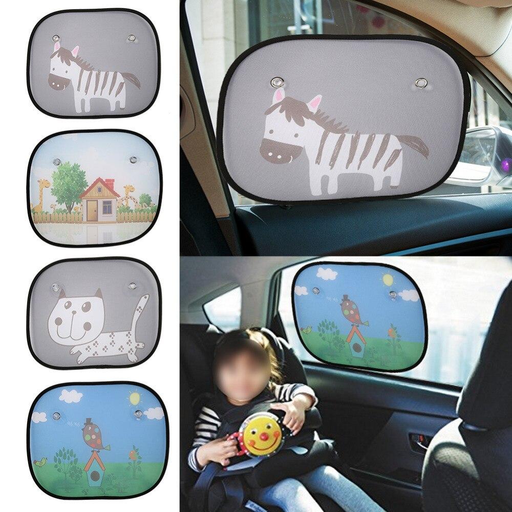2017 2Pcs Cute Cartoon Car Styling Curtain Anti Universal Car Window Baby Sun Shades Blocks Harmful UV Rays Sun Curtain Suction wave stripe design sun shading blackout curtain