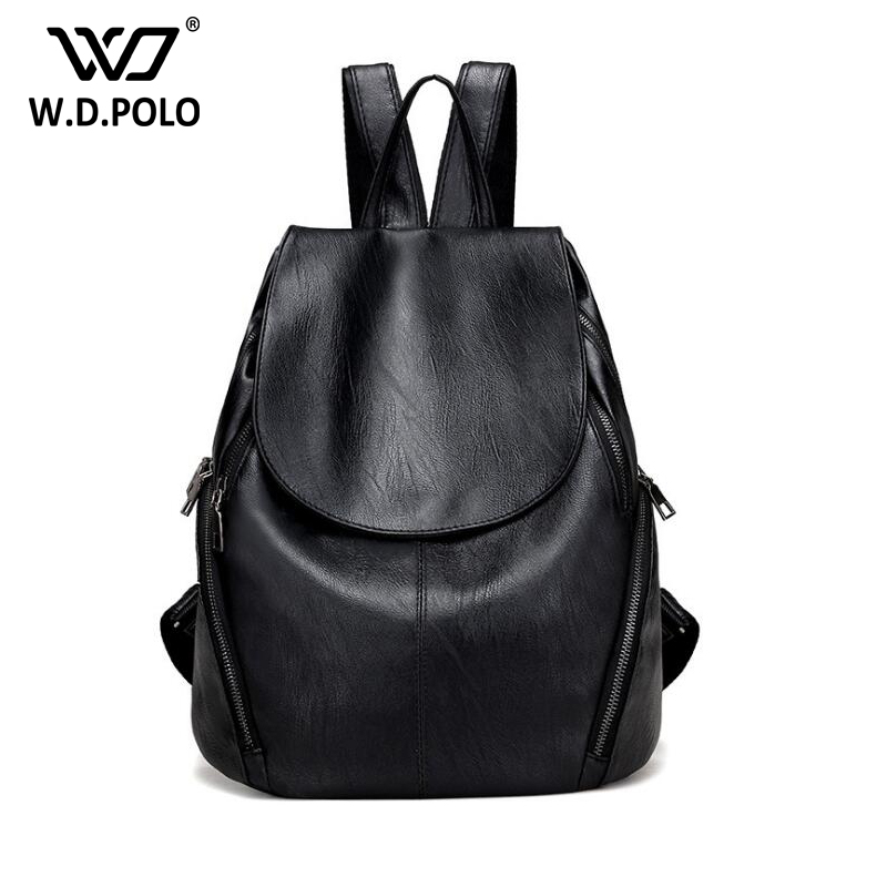 WDPOLO Simple Style Backpack Women genuine Leather Backpacks For Teenage Girls School Bag Fashion Vintage Solid Shoulder BagC077 new brand designer women fashion backpacks simple koran style school for teenager girls ladies shoulder bags black