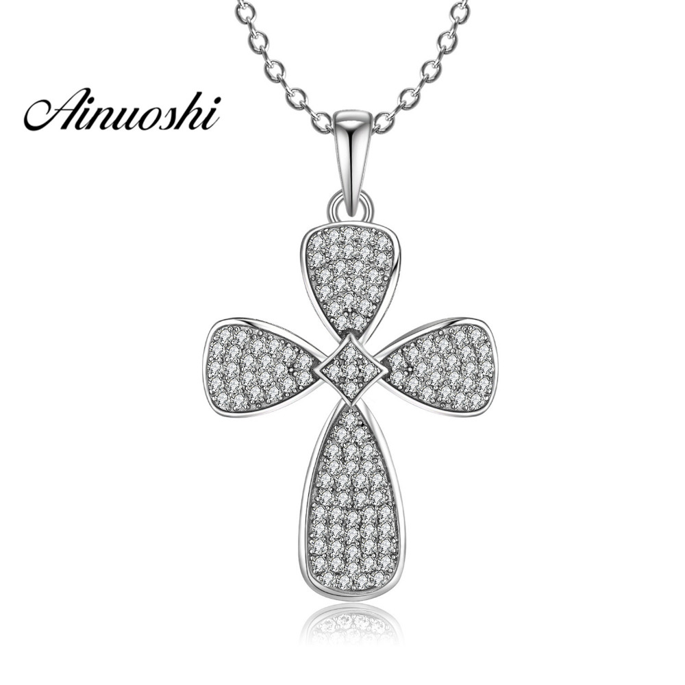 AINUOSHI Luxury 925 Sterling Silver Pendant Necklace for Women Halo Fan Cross Pendant Long Chain Necklace