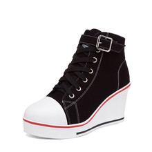 Women Wedges Shoes Female Casual Canvas Woman New Spring Autumn High Top Boots Zapatos Mujer Size 35-43