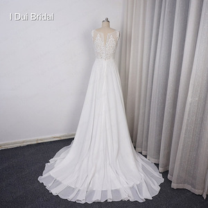 Image 3 - Chiffon A line Wedding Dress V Neckline with Lace Appliques Beaded Illusion Back with Button