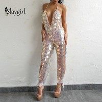 Slaygirl Sexy Summer Autumn Jumpsuit women Design Split Deep V Long Bodysuits Sequin Backless Solid Jumpsuits party club 2018