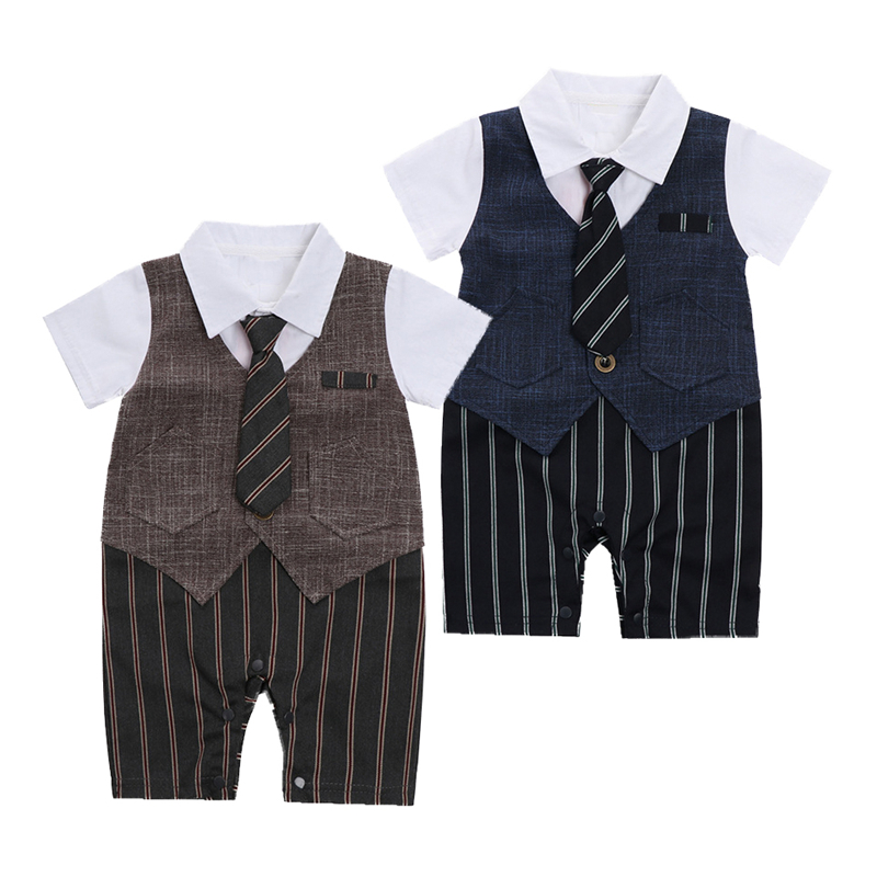2018 Fashion Toddler Baby Boys Gentleman Formal Suit One-piece Short Sleeves Striped Pattern Romper Jumpsuit With Tie