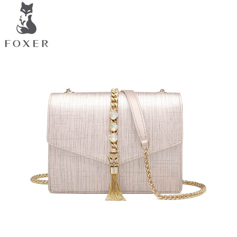 FOXER  2019 new fashion tassel one shoulder messenger bag leather bag female Chain small square package Designer bag femaleFOXER  2019 new fashion tassel one shoulder messenger bag leather bag female Chain small square package Designer bag female