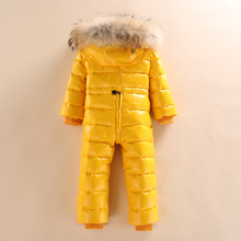 Epacket 2017 infant baby girls and boys snowsuit jacket kids hooded jumpsuit children sparkle winter down rompers fur overalls