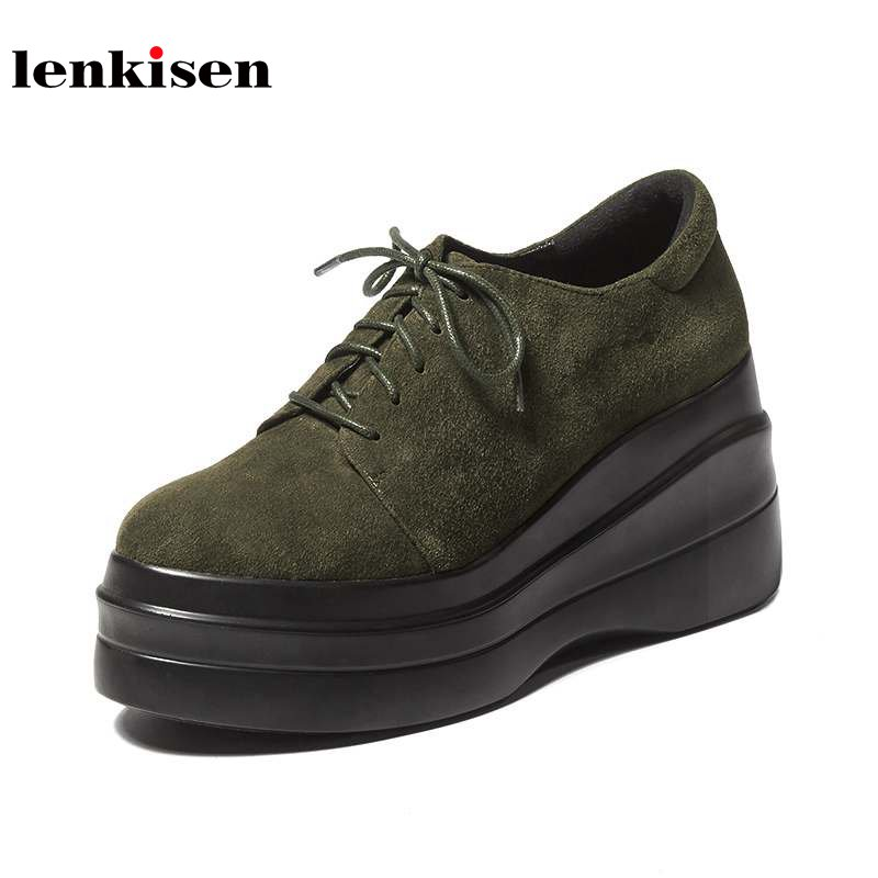 Lenkisen new solid round toe increased lace up sheep suede platform causal shoes wedge elegant super high heels women pumps L90