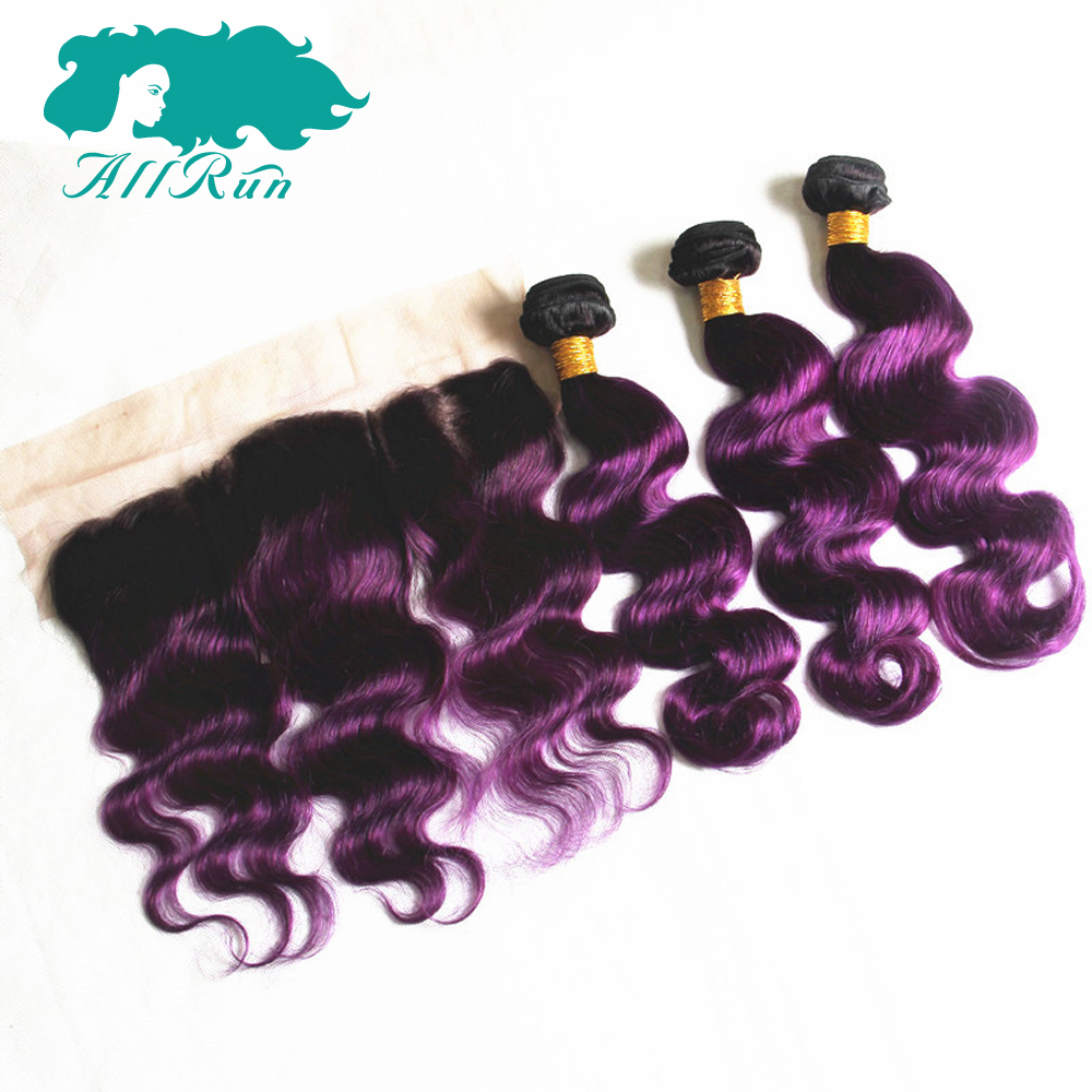 Allrun Pre-Colored Malaysian Body Wave With Lace Frontal 13*4 T1B-Purple Remy Human Hair Weave Bundles With Frontal Lace Closure