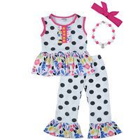 Persnickety Remake Baby Girls Summer Clothing Sets Print Black Polka Dot Ruffle Pants Spring Outfits With