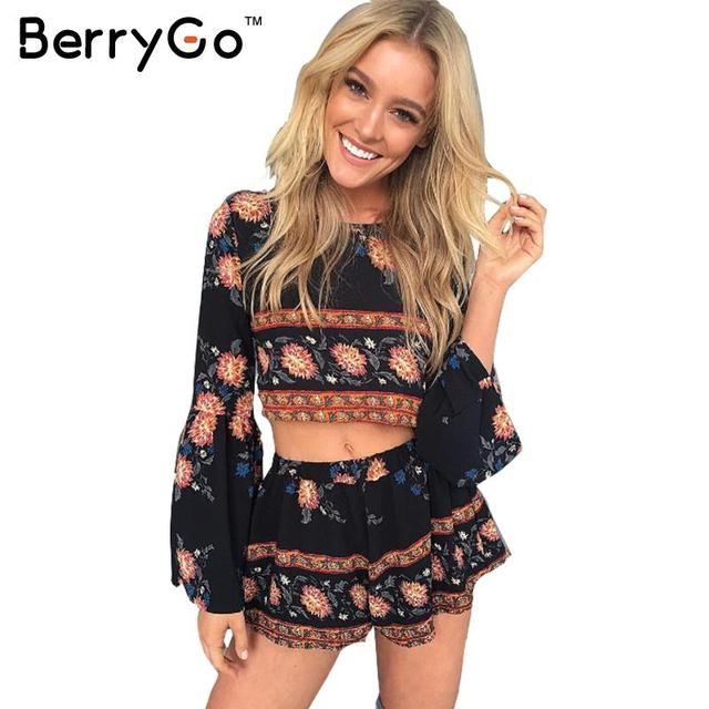 BerryGo Moda boho imprimir elegante jumpsuit romper playsuit Mulheres da praia do Verão backless sexy duas peças floral curto macacão