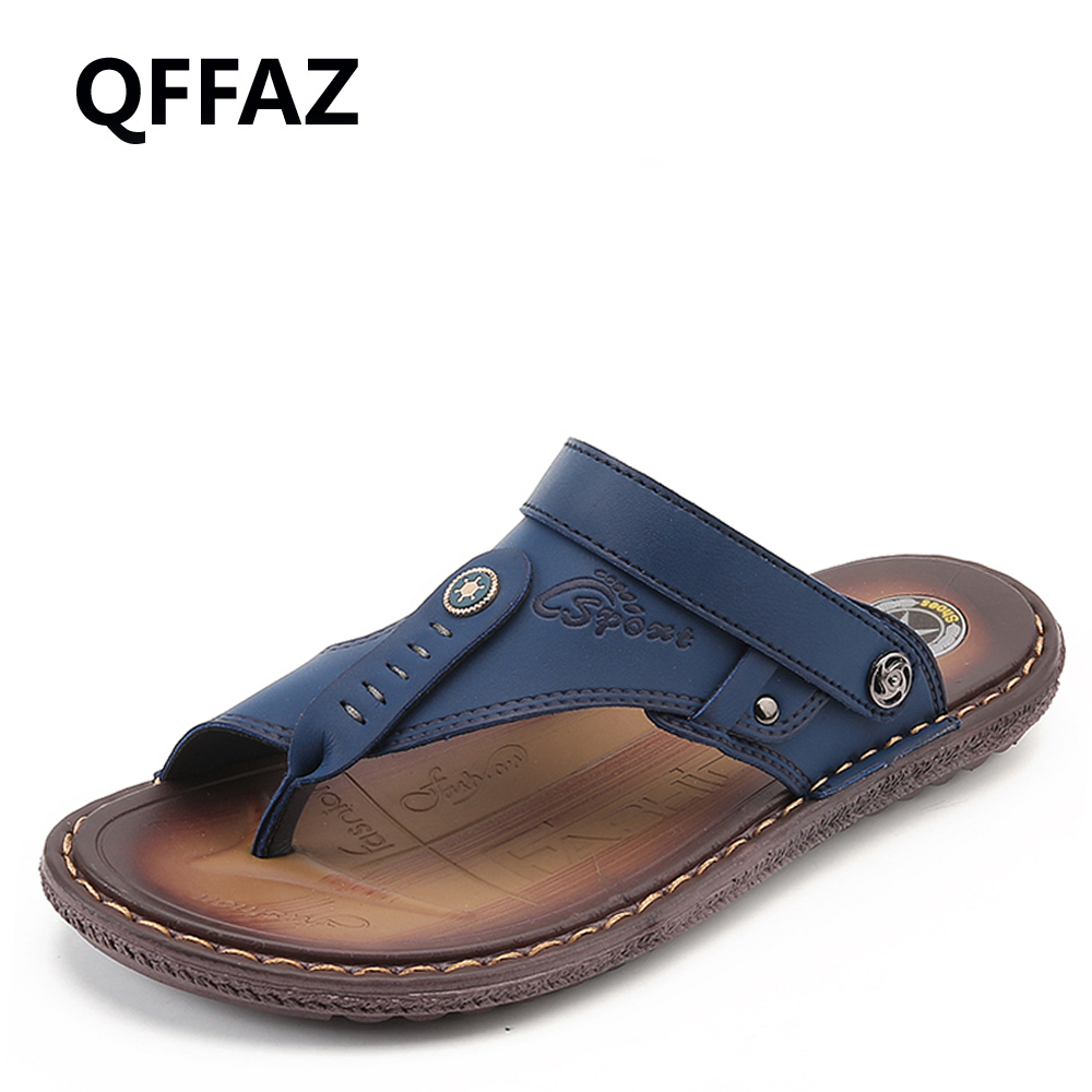QFFAZ 2018 New Fashion Men Beach Sandals High Quality Leather Beach Sandals Summer Breathable Casual Shoes Non-slip Slippers