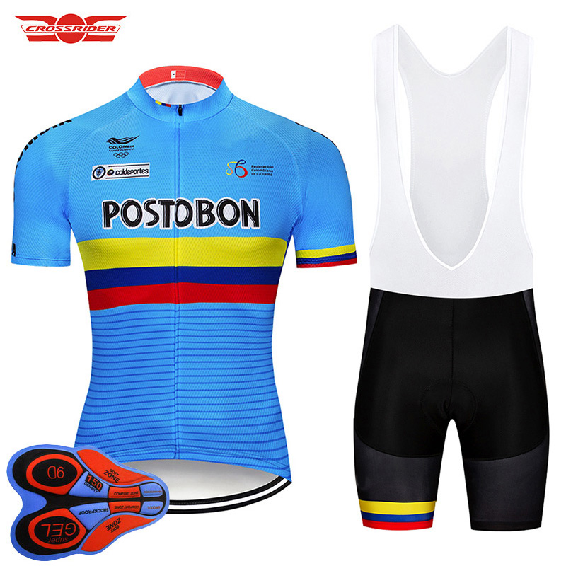 Crossrider 2019 Colombia Cycling Jersey 9D bib Set MTB Bike Clothing Breathable Bicycle Clothes Men's Short Maillot Culotte|Cycling Sets| |  - title=