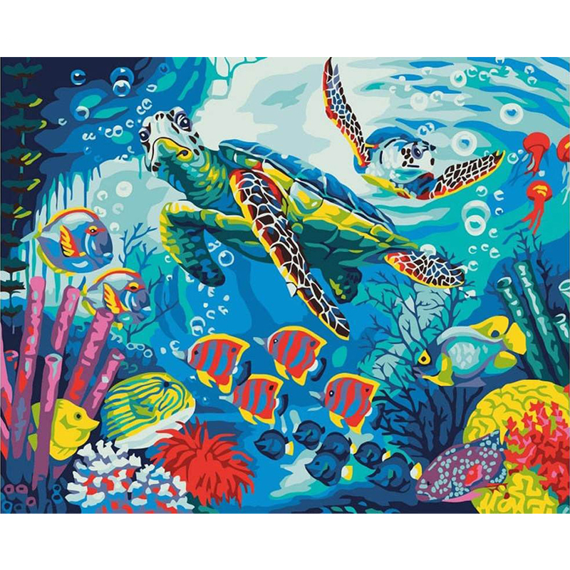 Undersea View Hand Made Paint High Quality Canvas Beautiful Painting By Numbers Surprise Gift Great Accomplishment