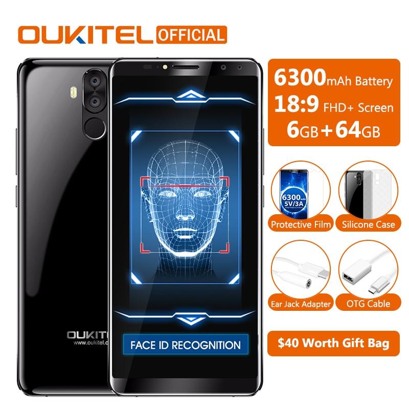 D'origine Oukitel K6 Visage ID Smartphone 6300 mah 6.0 18:9 FHD + MTK6763 6 gb RAM 64 gb ROM 5 v/3A Charge Rapide 4 Caméras Mobile Téléphone
