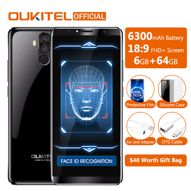 "Original Oukitel K6 Face ID Smartphone 6300mAh 6.0"" 18:9 FHD+ MTK6763 6GB RAM 64GB ROM 5V/3A Quick Charge 4 Cameras Mobile Phone"
