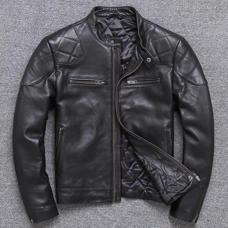 Erkek Kıyafeti'ten Hakiki Deri Montlar'de Ücretsiz kargo. satış klasik motor biker deri ceket, moda erkek hakiki deri ceket, kış sıcak ince koyun Beckham'da  Grup 2