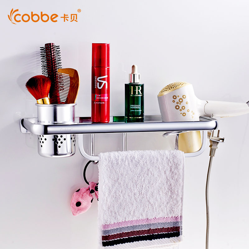 ФОТО Mirror Aluminum Hair Dryer Holder Wall Mounted Stand With Towel Hooks Excellent Restroom Wall Shelf Storage Organizer Cobbe5080J