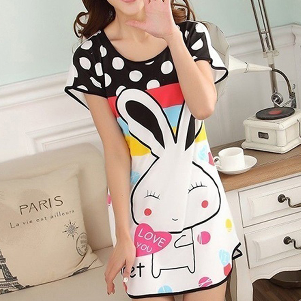 6977987f65 Wholesale Cartoon Women s Polka Dot Sleepwear Short Sleeve Sleepshirt Cute  Nightdress - Fortuna Brands