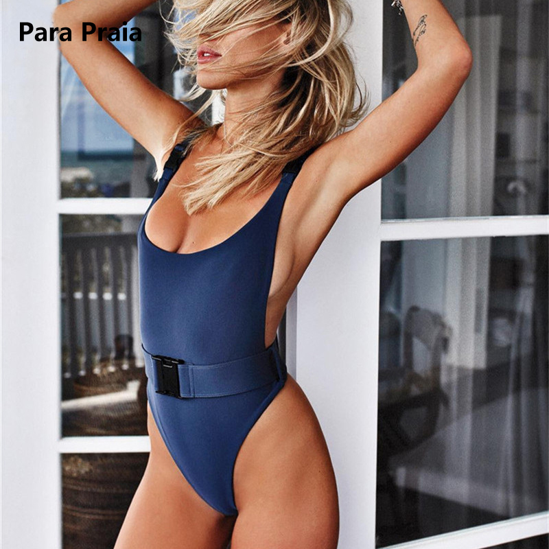 2018 Halter Swimwear Belt Buckle Swimsuit Women One Piece Swimsuit Sexy Bathing Suit High Cut Swimwear Monokini Thong Swim Wear m&m off the shoulder ruffle swimwear women swimsuit maillot de bain monokini thong swim wear one piece swimsuit bathing suit