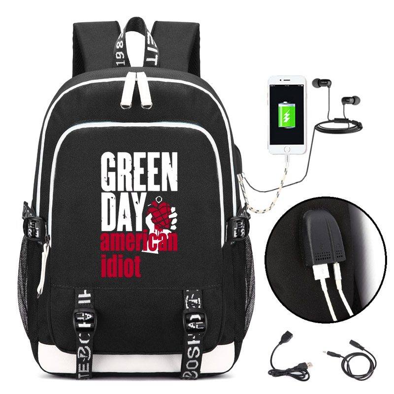GREEN DAY Backpack with USB Charging Port and Lock Headphone interface for College Student Work Men