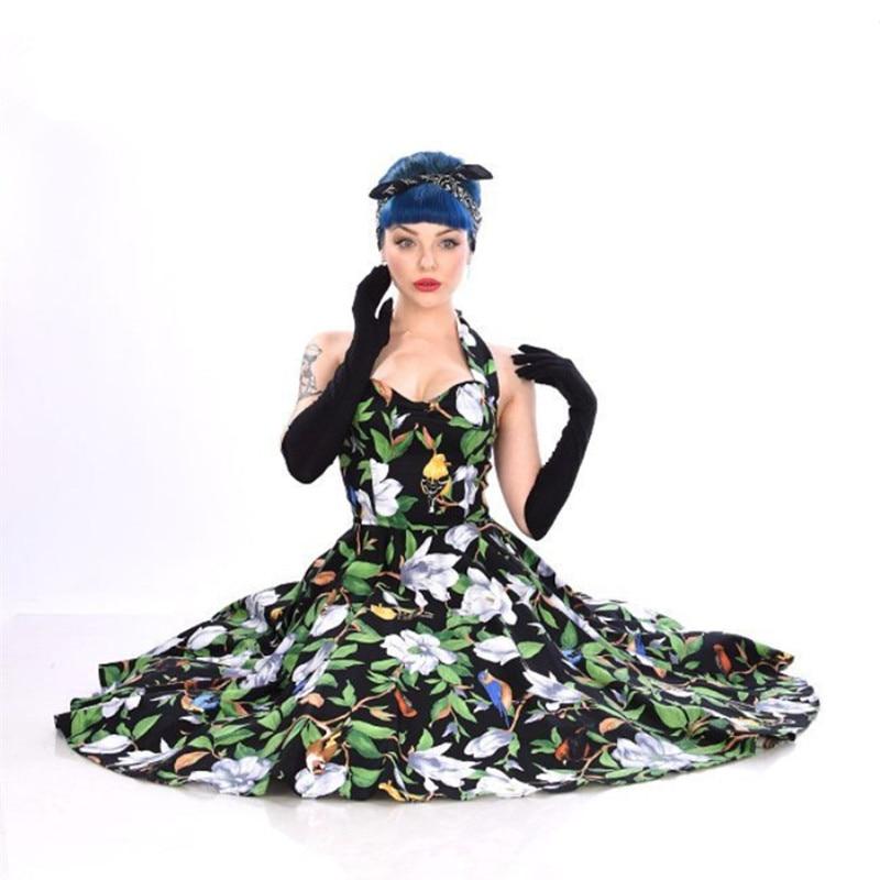 US $47.99 40% OFF|40 summer women vintage 50s bird camellia halterneck  swing dress in black rockabilly pinup plus size vestidos plus size  dresses-in ...