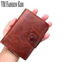 VM FASHION KISS Genuine Leather Men S Leisure Retro Short Wallet 11 Card Bit Coin Purse