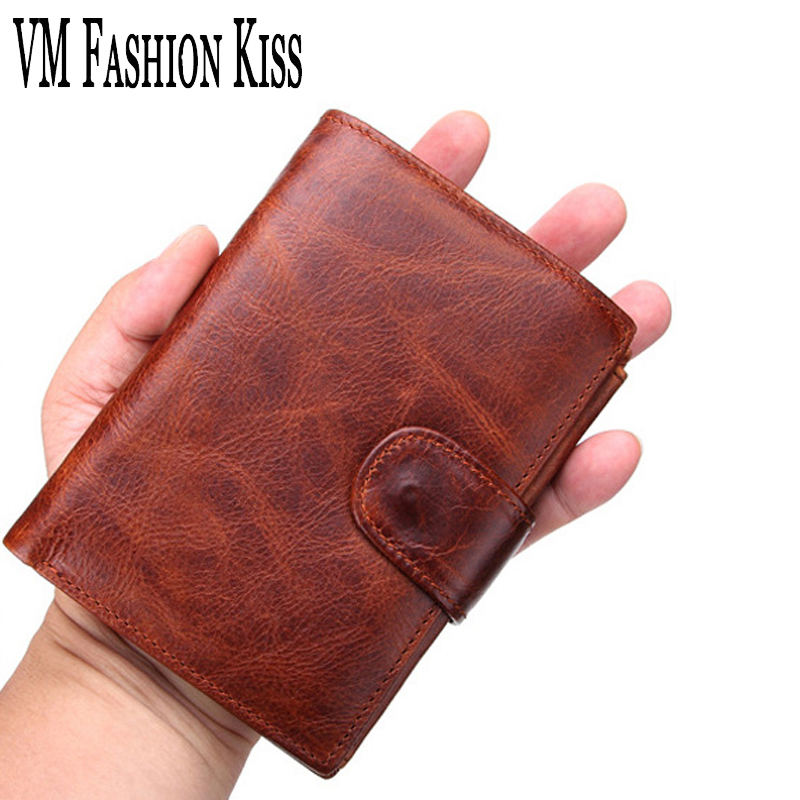 VM FASHION KISS Genuine Original Leather Mens Leisure Retro Short Wallet 11 Card Bit Coin Purse Male Cowhide Purse Wallets Men ...