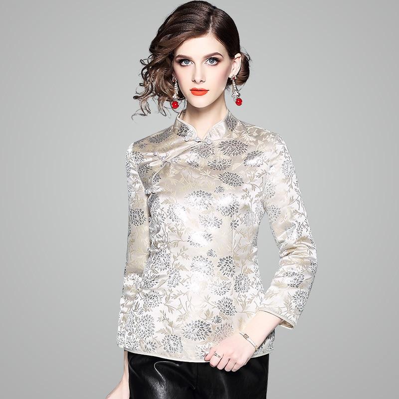 Fleur Femme Chinois Style Golden Thin Veste Argent Vintage thick Motif Manteau Beige Xxl Automne Printemps Boutons Perles Leaf O56wg0wq