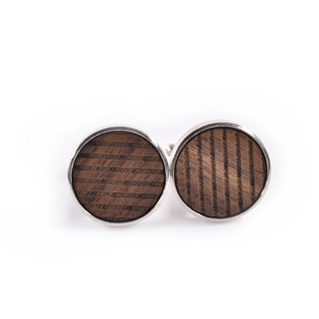 Mdiger Wooden Button Cufflinks Round Stripe Cufflink High Jewelry Cuff Links Mens Formal Business Wedding