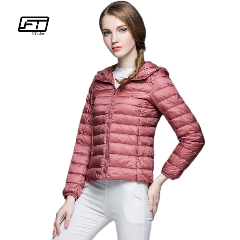 Fitaylor New Women Spring Autumn Ultra Light   Down     Coat   Casual Duck   Down   Hooded Jacket Short Design Warm Overcoat