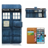 For Iphone 7 7PLUS PU Leather Doctor Who Tardis PHONE Case Card Slot Police Box Filp