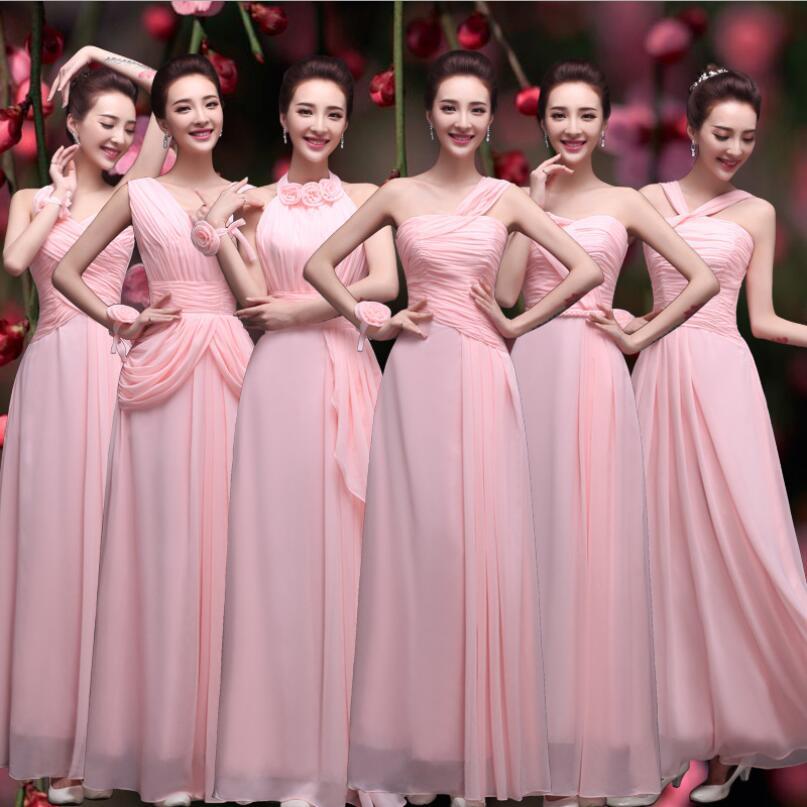 NICEOOXIAO 2017 Pleats Chiffon Long Bridesmaid Dresses New Pink 6 ...