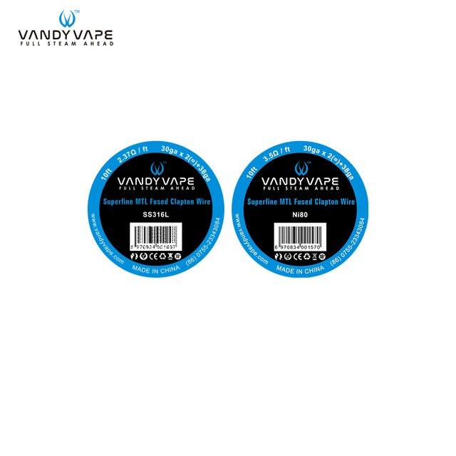 Original Vandy vape Superfine MTL Fused Clapton SS316L/NI80 Wire ...
