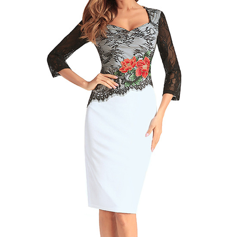 Summer Office Ladies OL Work Dress For Woman Black Lace Splice Patchwork Body Dresses Embroidery Floral Vestidos WS6277Z