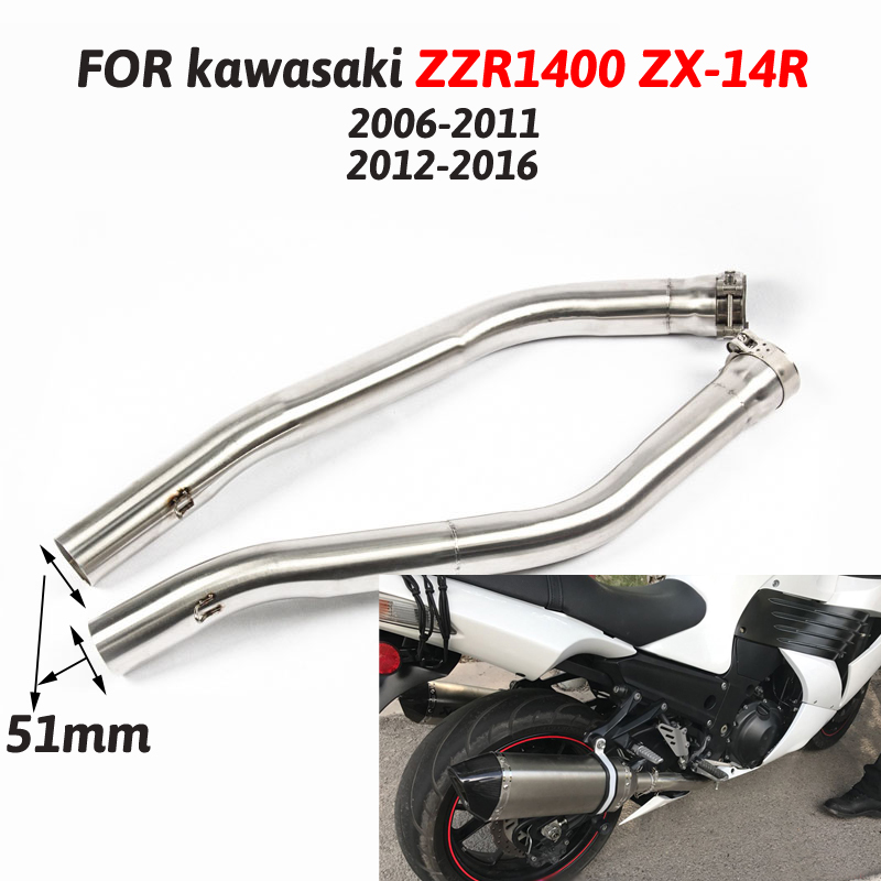 Slip On Motorcycle Exhaust Muffler Mid Link Pipe Stainless Steel Moto Modify For Kawasaki ZZR1400 2006-2016 Middle Connect PipeSlip On Motorcycle Exhaust Muffler Mid Link Pipe Stainless Steel Moto Modify For Kawasaki ZZR1400 2006-2016 Middle Connect Pipe