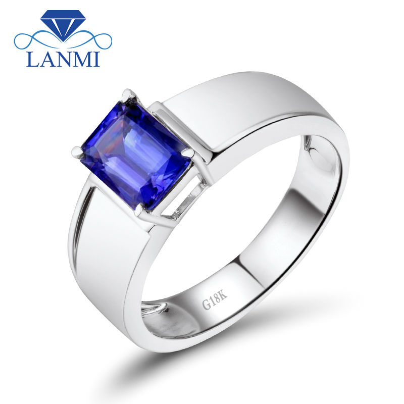 Cool Tanzanite Rings Men Style Emerald Cut 6x8mm In Solid 18K White Gold For Business WU292 titanium ring
