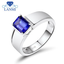 Cool Tanzanite Rings Men Style Emerald Cut 6x8mm In Solid 18K White Gold For Business Gemstone Jewelry WU292