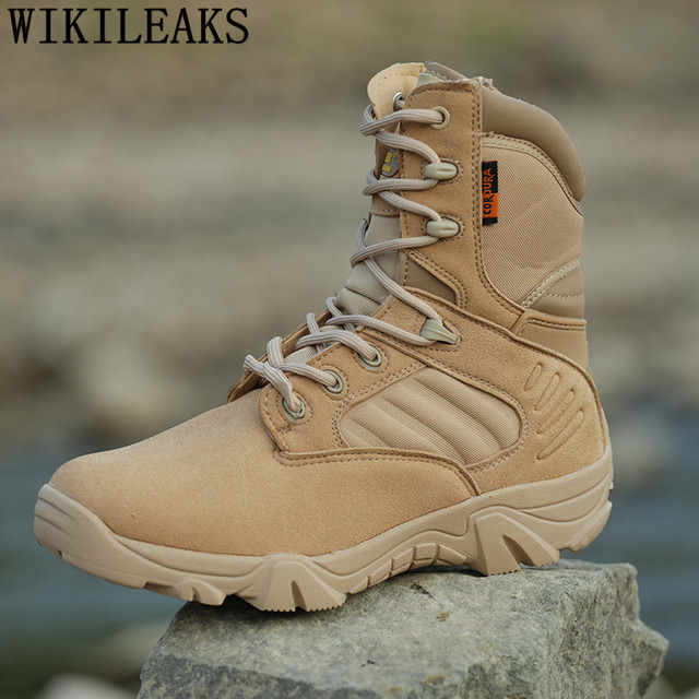 aefa1b1715170 2019 marque militaire bottes hommes désert bottines en cuir véritable  tactique bottes chaussures armée fans en
