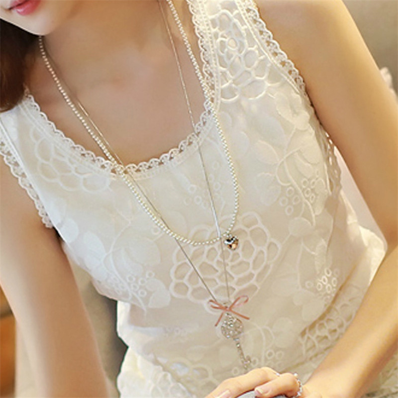 6XL Women Sexy   Blouse     Shirt   Plus Size Summer Elegant Sleeveless White Crochet Lace   Shirt   Tops For Woman Blusas Vest camisa