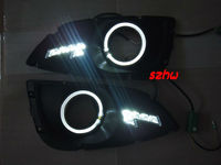 Super Bright LED Daytime Running Lights Angel Eyes DRL With Fog Lamp Cover For Hyundai IX35